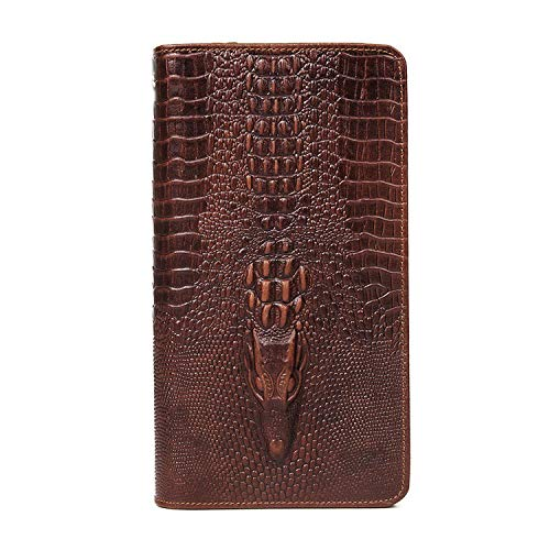 SCSY-Retro Mode Tasche Hochwertige Herren Brieftasche Leder Clutch Bag Clutch Business Style Erste Schicht Kuh Tasche Clutch Bag Krokodil Muster (Color : Brown, Size : S) -