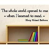 Toda la palabra abierto para mí Mary Mcleod Bethune reading-boy habitación de los niños diseño de niña playroom-vinyl cita arte mural letras diciendo gran adhesivo gráfico dormitorio Decor