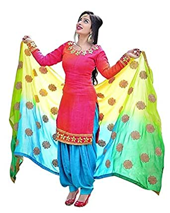 Spangel Fashion Girls' Cotton silk punjabi salwar suit patiyala (pink patiala_Free Size)