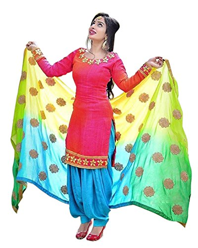Spangel Fashion Women's Benglory Satin Silk Salwar Suit (Pink Flower_1_Pink_Free Size, Unstitched)