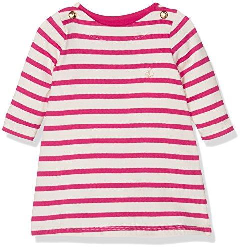 Petit Bateau Baby-Mädchen Kleid Robe ml, Mehrfarbig (Coquille/Flashy 65), 68 (Herstellergröße: 6m/67cm) (Robe Baumwolle Gestreiften)