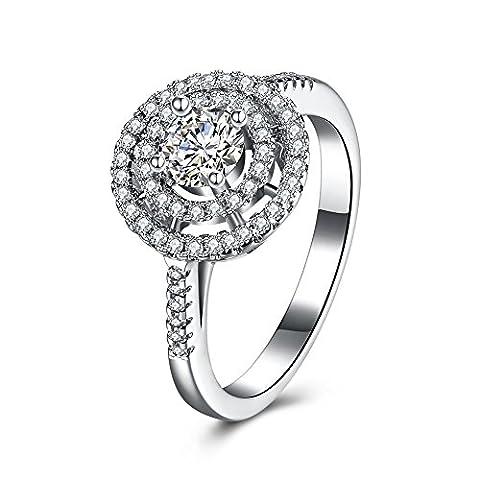 Balansoho Argent sterling 925Cercle Halo Mariage Bands Bague de fiançailles Cadeau d'anniversaire pour femme