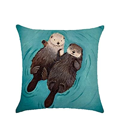 Nicetage Otters Pillow Cases Cartoon Animal Cushion Covers Home Decoration - low-cost UK light shop.