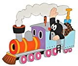 Unbekannt Wandbild / Wandtattoo -  Der kleine Maulwurf in der Bahn  - aus HOLZ - selbstklebend - Kinderzimmer Deko Bilder Türschild Eisenbahn Zug