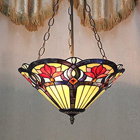 Style Pastoral Vintage Européenne Tiffany 16-Inch Fleur Main Stained Glass Pendant Lamp Salle Lumineuse
