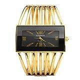 jsdde Damen-Armbanduhr Analog Armreif mit Rechteck Gesicht Gold Ton–Schwarz Gesicht