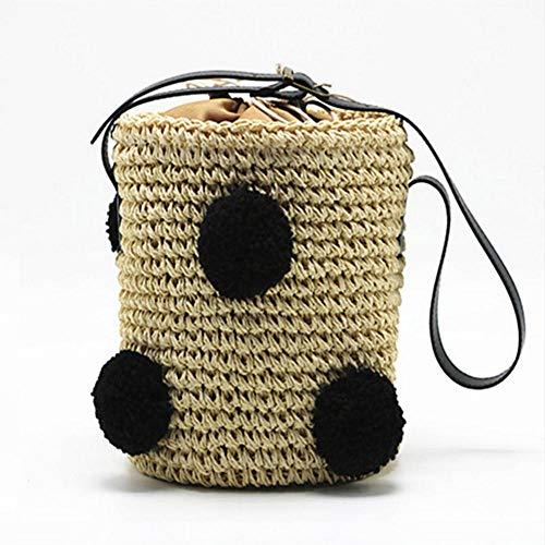Dwqlx Frauen Cherry Straw Taschen Bohemian Summer Beach Weibliche Handtasche Handmade Lady Weave Umhängetasche Mini Cute Casual Bag @ B