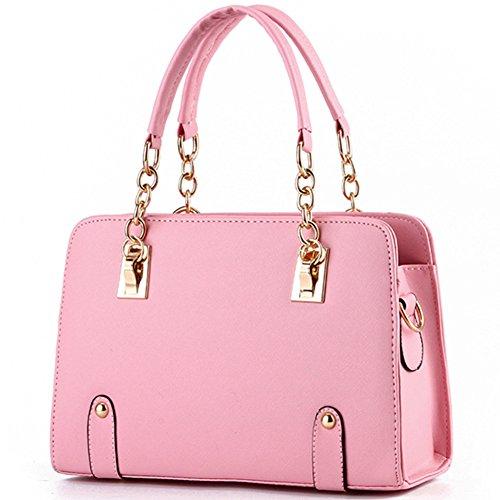 fanhappygo Fashion Retro Leder Kreuzmuster Kette Handtaschen Abendtaschen Damen Schulterbeutel Umhängetaschen Pink