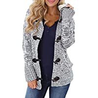 Aleumdr Womens Fashion Warm Long Sleeve Coat Solid Printed Knitted with Pockets Cardigans Pullover Sweaters Tops Grey Medium