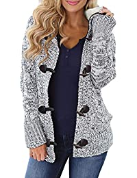 Happy Sailed Damen Langarm Strickjacke Cardigan Strickcardigan Hoodie Jacke mit Kapuze