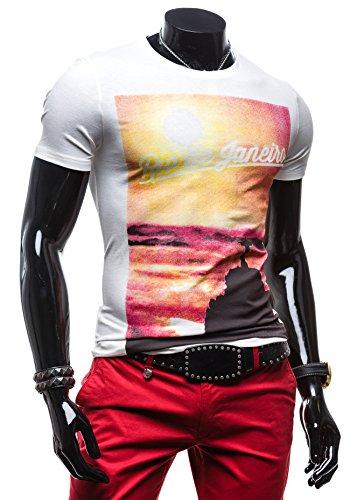 BOLF Herren T-shirt Figurbetont Kurzarm Classic Slim Fit Basic 3C3 Weiß