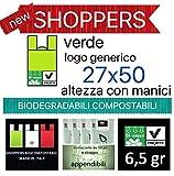 BUSTE SHOPPERS BIODEGRADABILI COMPOSTABILI MIS.27X14X50 FARMACIA KG.4 PARAFARMACIA