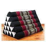 livasia Großes Dreieckskissen als Rückenstützkissen, Thaikissen bzw. Keilkissen, Nackenkissen für das Bett (schwarz/rot)
