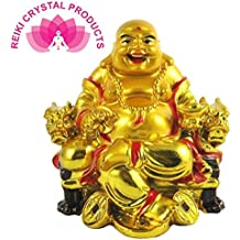 Reiki Crystal Products Feng Shui Laughing Buddha On Chair with Ingot and Money Coin for Health, Wealth and Happiness
