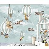 Mur De La Chambre Des Enfants Papiers Animaux Ballon Photo Papier Peint Peintures Murales Décor À La Maison Papier Peint 3D Imitation Tissu De Soie 200X140Cm