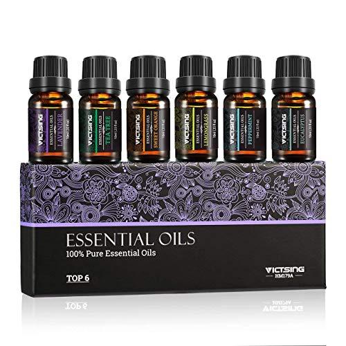 VICTSING Aceites Esenciales Naturales -100% Puros, Aceites Esenciales Perfumados,lavanda, menta, etc, 10ml cada botella - Juego de seis