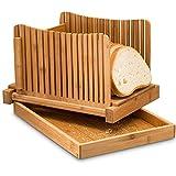 Leepesx Affettatrice per Pane in bambù con taglierina Affettatrice per Pane Regolabile Pieghevole per Torte di Pane Fatto in casa