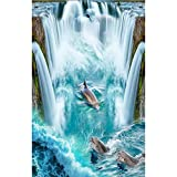 Vitila Kreative Rutschfeste Aufkleber Dekoration Wohnzimmer Schlafzimmer Bad Persönlichkeit 3D Wandaufkleber Delphin Selbstklebende Poster Pvc Abnehmbare Tapete