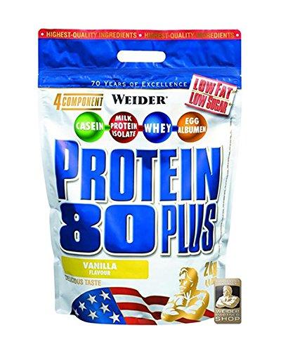 WEIDER Protein 80 Plus Eiweißpulver, Vanille (Low-Carb (Mehrkomponenten Casein Whey Mix für Proteinshakes, 2kg)