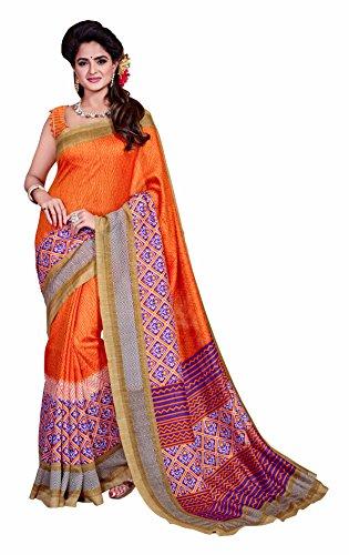 Novus Knitting Orange Printed Mysore Jute, Cotton Linen Blend uniform Saree With...