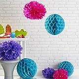 Lights4fun 9er Set Seidenpapier Pompoms und Wabenbälle Honeycombs Pink Lila Türkis
