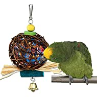Keersi Bird Chew Toy Natural Rattan Ball Come with Paper Strips for Parrot Budgie Parakeet Cockatiel Conure Lovebird Finch Cockatoo African Grey Macaw Eclectus Amazon Cage