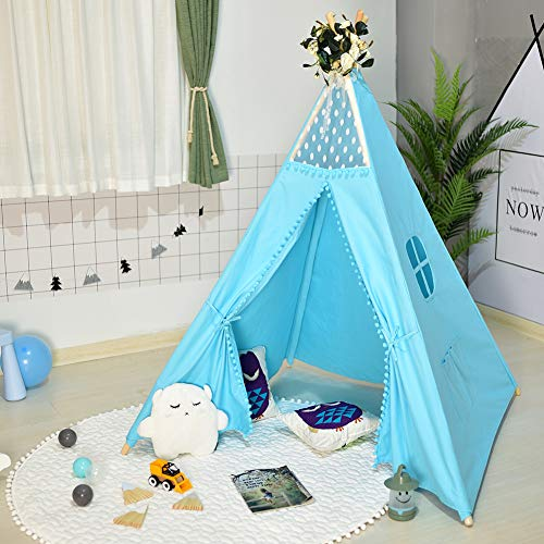 Triclicks Kids Teepee Play Tent - Indian Children Tipi Play House - 100% Cotton Canvas Princess Girls Tent for Indoor and Outdoor (Blue)