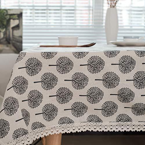 WJYdp Schwarze kleine Baumwolltischdecken-Tischdecke des weißen Quadrats einfache Tischdeckenausgangsstoffhotelrestaurant-Abdeckungsstoff,140X180CM