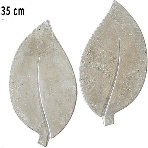 matches21 XXL Trittsteine große Blätter Blatt-Form 2 Paar (4 STK.) Tritt-Steine Beton Garten 35x18 cm dekorative Tretsteine Groß, Blatt