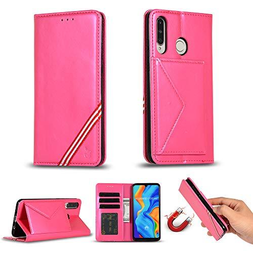 Miagon für Huawei P30 Lite Hülle,Wallet Case Cover Schutzhülle und Klapp Magnetisch Flip Bumper Ledertasche Schutzhülle,Rose Rot