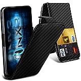 ONX3 (Carbone Noir Fibre) Yezz Andy 5EI étui cas Luxe Universal pliant de style PU Spring en cuir Porte-Clamp Top flip cas avec 2 emplacements de cartes, Slide Up et la caméra vers le bas