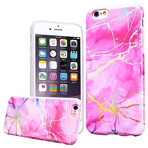 WE LOVE CASE iPhone 6 Plus / 6s Plus Hülle Marmor Rosa iPhone 6 Plus / 6s Plus Hülle Silikon Weich Marble Handyhülle Tasche für Mädchen Elegant Backcover , Soft TPU Flexibel Case Handycover Stoßfest B Pink