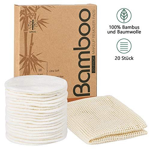 SPACES® Waschbare Abschminkpads| 20 Stück Wiederverwendbare Wattepads aus Bambus und Baumwolle | Umweltfreundlich |Weich & Schonend Abschminktücher | INKL. Wäschenetz |Perfekt für Gesichtsreinigung -