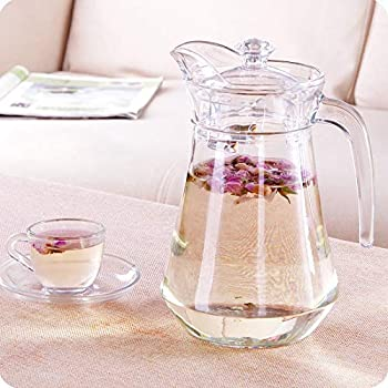 Home-Cart Green Apple Duck Pot 1.3L Glass Pitcher with Plastic lid,Drinking Beverage Jug,Glass Water jug for Home use
