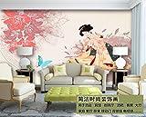 Tantoto 3D Wallpaper Benutzerdefinierte Wandmalereien Großen Nahtloses Ganzes Blatt Tapete Das Restaurant Shop Hintergrund Der Japanischen Ukiyoe Retro Schönheit Abbildung