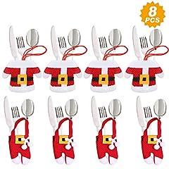 Idea Regalo - Aitsite 8 Pezzi Natale Cucina Posate Coltello Forchetta Cucchiaio Babbo Natale Portaposate Natale Pupazzo di Neve Alce Porta Coltelli Borse Decorazioni per Borsa da tavola Posate Natale