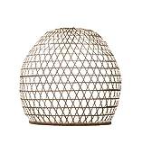 Lampenschirm Roundy Bambus M, 40x40cm - weiss, Bambuslampen aus Bali, handgemachte Lampenschirme aus Bambus, als Hängelampe, Pendelleuchte über Esstisch, im Kinderzimmer oder als Wohnzimmerlampe.