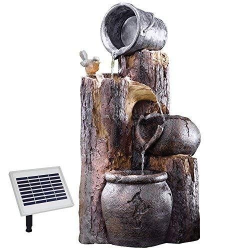 AMUR Solar Gartenbrunnen Brunnen BAUMSTUMPF & TONKRÜGE Zierbrunnen Wasserfall Springbrunnen für Terrasse, Balkon, verbessertes Modell mit Pumpen-instant-Start-Funktion mit Li-Ion-Akku & Led-Licht