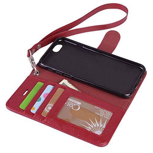 iPhone 6 / 6S Hülle,Arae PU Brieftasche Hülle mit Standfunktion Kartenfächer und Bargeld für iPhone 6 / 6S,Schwarz weinrot