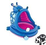 DMGF Aufblasbares Baby-Pool mit Baldachin Kinder-Schwimmzentrum Sommer Kinder-Planschbecken mit Elektrischer Luftpumpe Hippo Welle Über Dem Boden Pools 44X39 X 38 Zoll,2Pieces