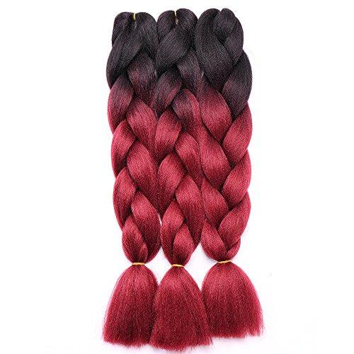 Extension treccia per capelli treccine ombre braiding hair 100g/pcs, confezione da 3 ciocche, due tonalità 5# nero a rosso