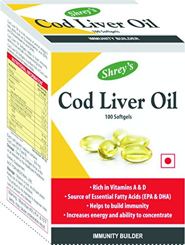 Shrey's Cod Liver Oil, Vitamins A & D - 100 Capsules (Immunity Booster) (1)  available at amazon for Rs.279