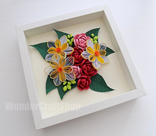 mothers-day-gift-red-pink-roses-paper-quilled-home-decor-flower-wall-art-handmade-beauty-salon-decor