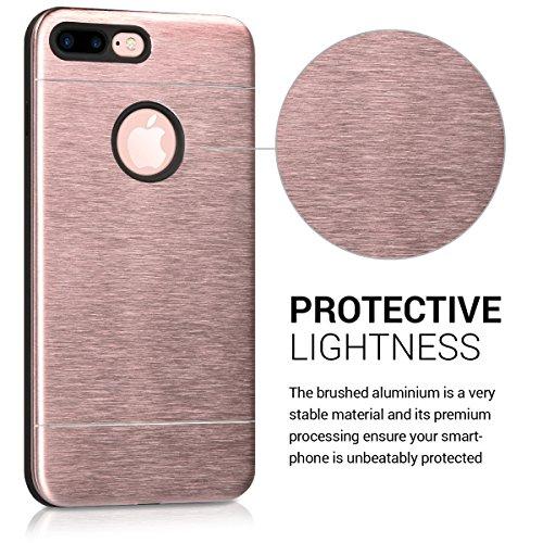 Cover in alluminio per Apple iPhone 7 Plus / 8 Plus - kwmobile custodia protettiva in silicone TPU e alluminio - case per smartphone in oro rosa - back cover cellulare oro rosa