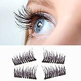 Upgraded Magnetic Eyelashes Nuovo Dual Magnetici Ciglia Finte, Ultra Sottile Magneti, 3D Fibra Riutilizzabili, 1 Coppia 4 Pezzi