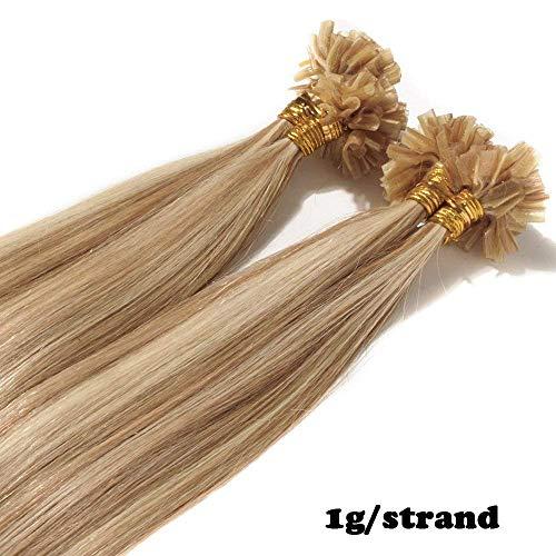Extension capelli veri cheratina con meches 1 grammo lunga 40cm pesa 50g/pack u tip remy hair naturali lisci, 12/613 marrone chiaro/biondo chiarissimo