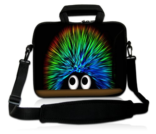 Luxburg® Design Laptoptasche Notebooktasche Sleeve mit Schultergurt und Fach für 17,3 Zoll, Motiv: Igel Undercover