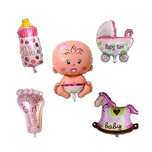 Calistouk Cinco globos cumpleaños decorativos aluminio para fiestas de bebés niño, Rosa