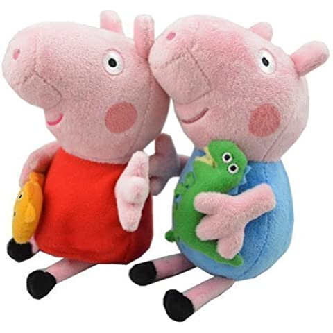 SeaISee 2pcs Peppa Pig Plush Doll Stuffed Toy Peppa & George 8` For Kids Gift Multicoloured, 19CM by