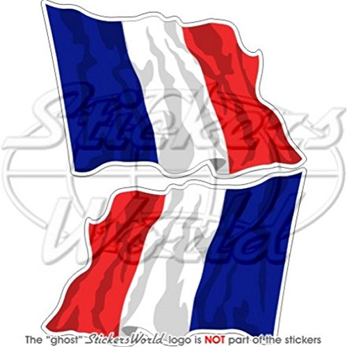 Frankreich French Waving Flag Française 7,6 cm (75 mm) Bumper Sticker, Aufkleber Vinyl X2 (French Flag Bumper Sticker)